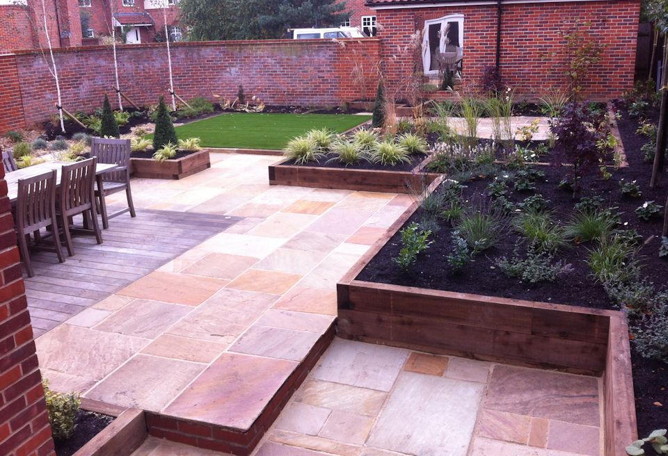 ... Award Winning Garden Design With Split Level Patio, Lawn, Planting Beds  And Decking