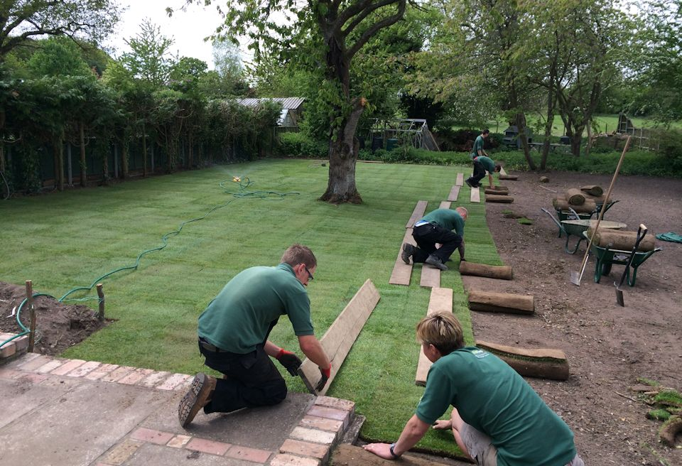 Garden Clearance and Lawn Swannington, Norfolk - Laying new Turf