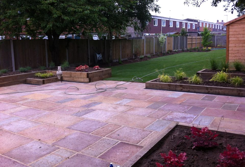 Garden Design Gorleston, Norfolk - Patio with Raised Beds and new Planting