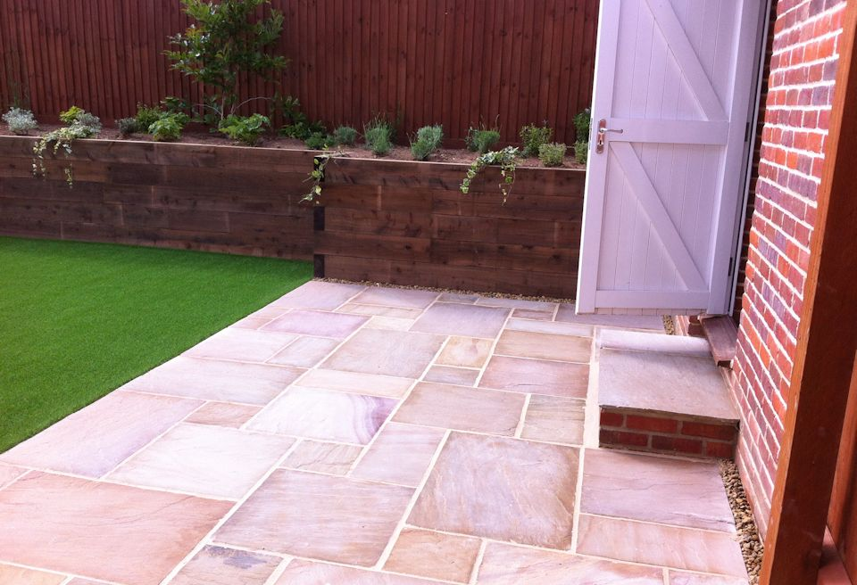 Landscaping and Garden Design Norwich - Matching Patio Step into the Garage