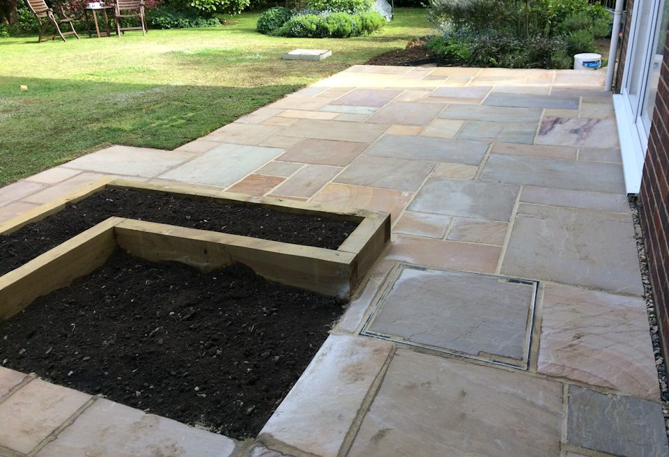 New Patio And Planters Norwich   Inset, Dual Height Herb Garden And  Matching Manhole Cover ...