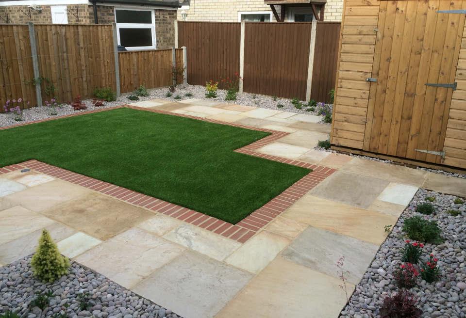 Small Low Maintenance Garden Hethersett   Brick Lined Artificial Grass ...