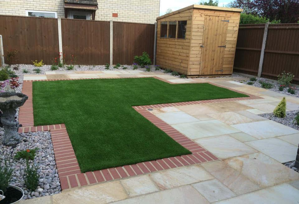 ... Small Low Maintenance Garden Hethersett   Sandstone Patio Looking Over  The Garden ...