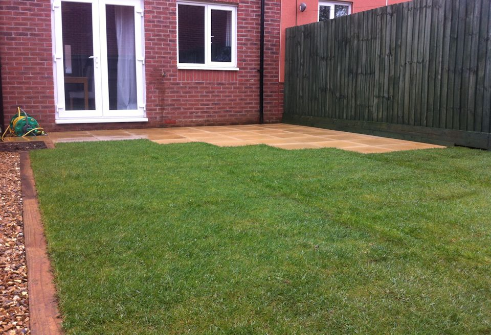 ... Small, Simple Garden Design Watton, Norfolk - Levelled Garden with new  Patio Area ...